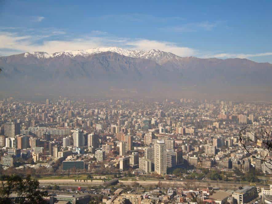 Kilátás a San Cristobal-hegyről, Santiago de Chile
