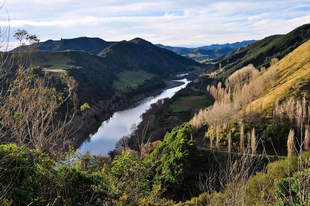 A Whanganui-folyó alsó folyásánál