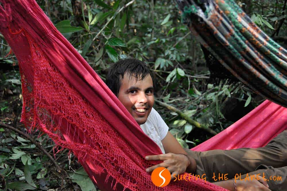 In a hammock in the jungle