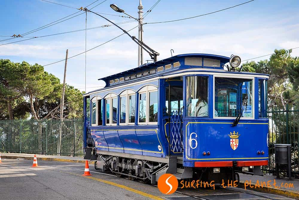Blue tram in Tibidabo