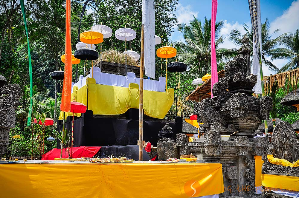 Temples in Bali prepared for the full moon ceremony in Bali