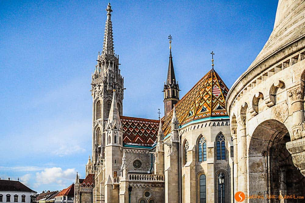The beautiful colored roof of Matthias Church Budapest