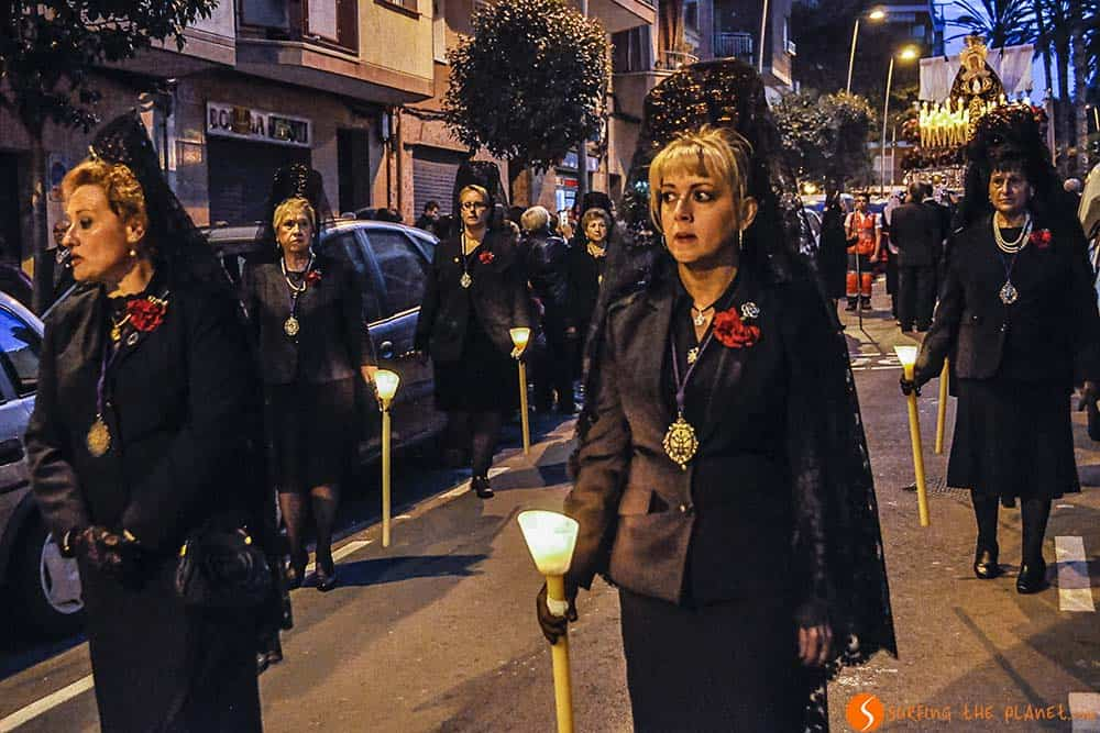 Women marching - Easter Procession Barcelona