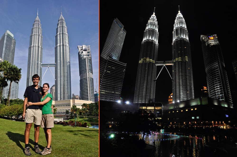 Torres Petronas de dia y de noche, Kuala Lumpur, Malasia