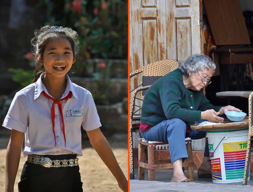 Scene di vita quotidiana a Luang Prabang in Laos