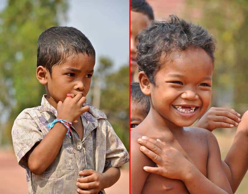 Niños majos, cerca de Roluos, Camboya