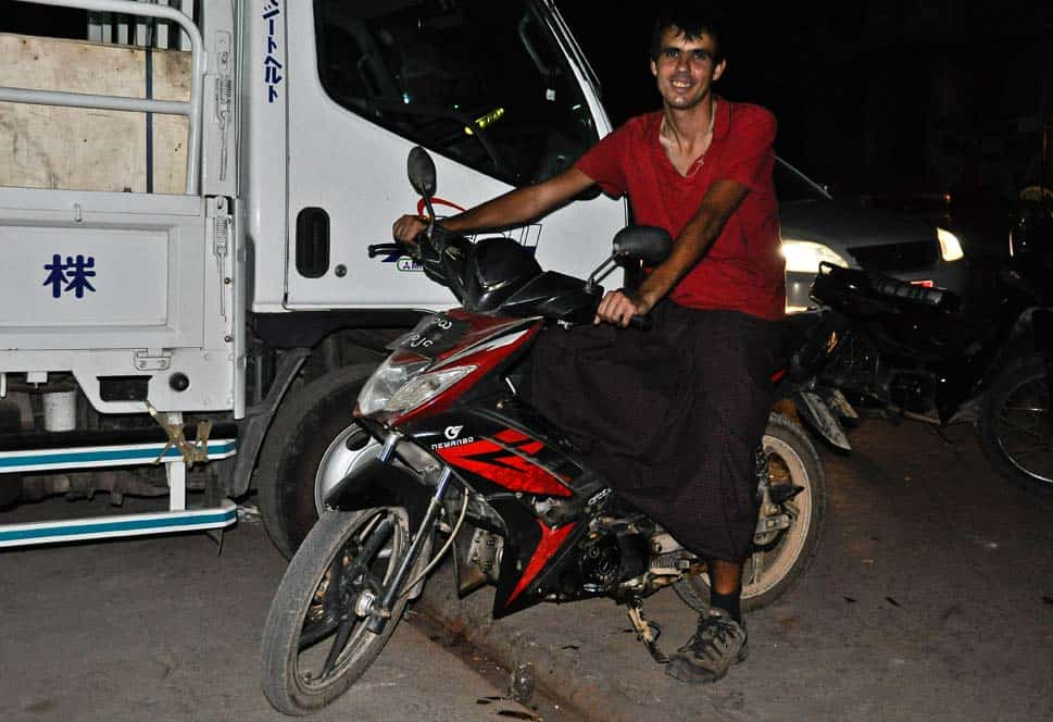 Gabor in his skirt on the motorbike