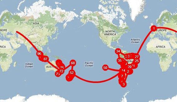 cartina giro attorno al mondo
