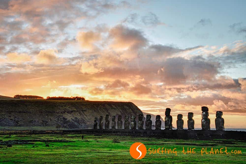 Tongariki Bay Sunrise, Easter Island, Chile