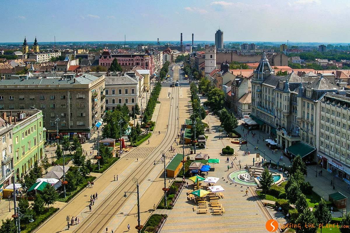 Vistas del centro desde la torre de la Iglesia Grande, Debrecen, Hungría | Qué ver en Debrecen