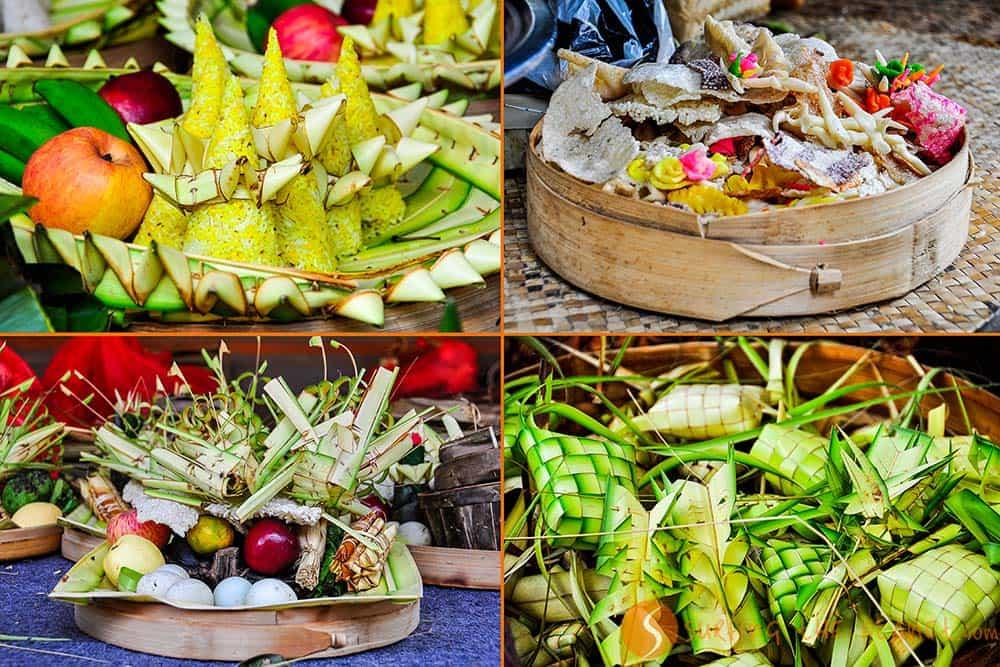 Offerta agli dei per la festa della luna Bali Indonesia