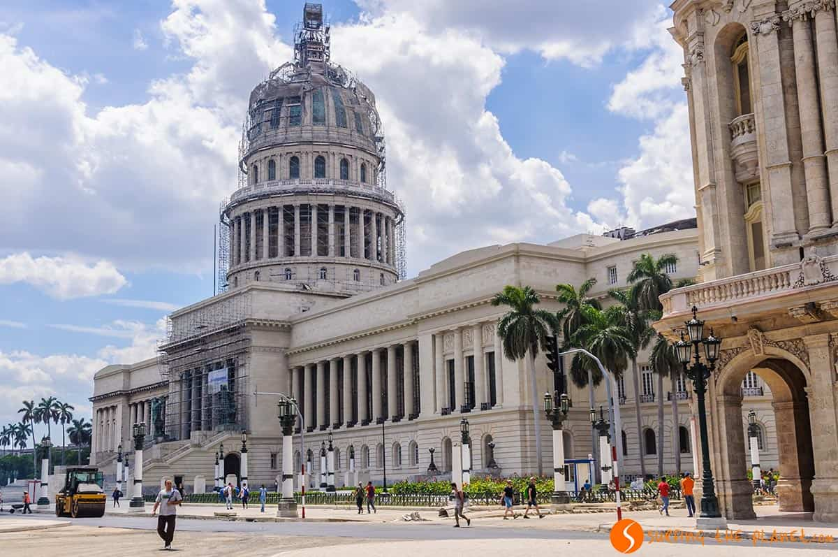 Side view of Capitolio in Havana. Traveling to Cuba