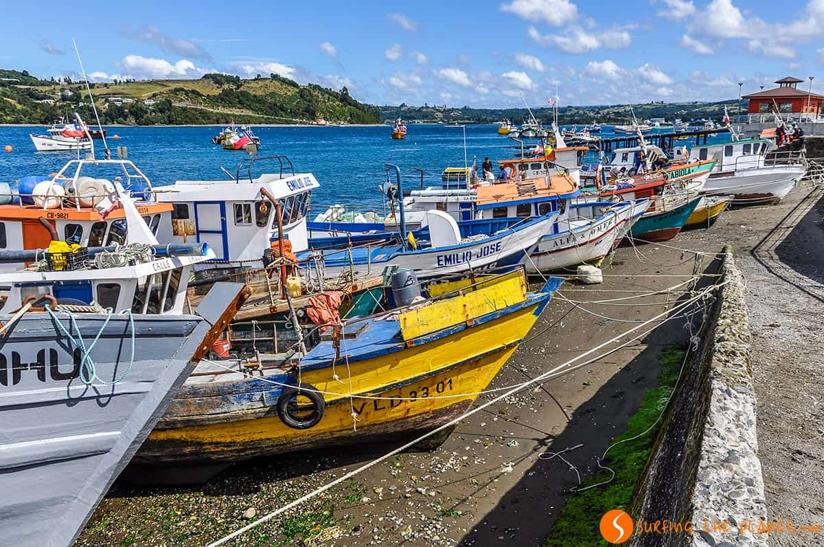 Colorful boats, Chiloe Island, Chile
