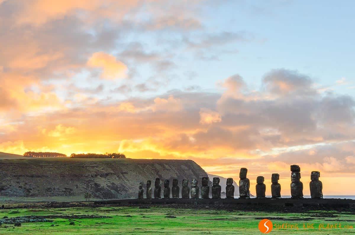 Ahu Tongariki moais, Isla de Pascua, Chile