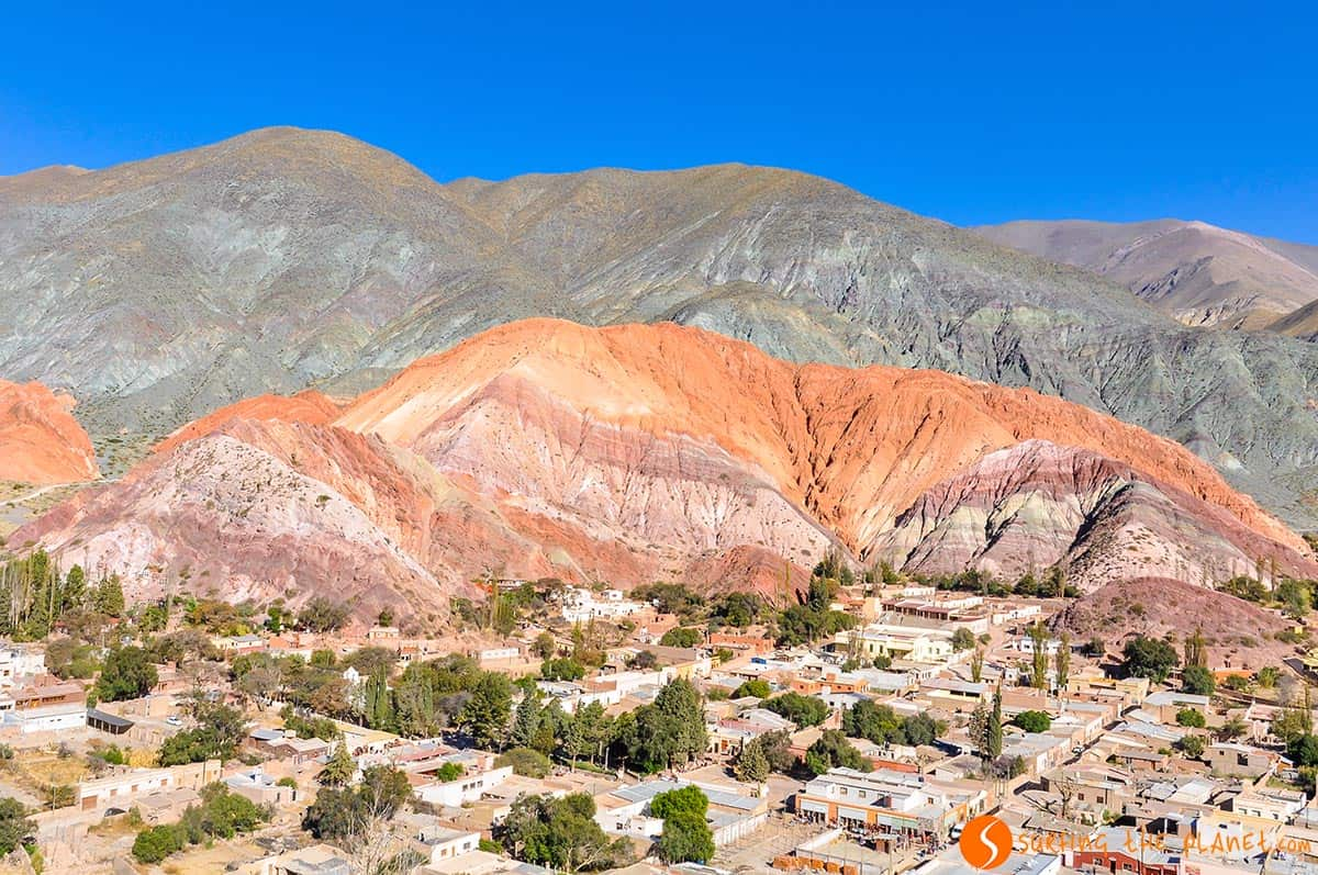 Distant view of Cerro de los Siete Colores, Purnamarca, Argentina