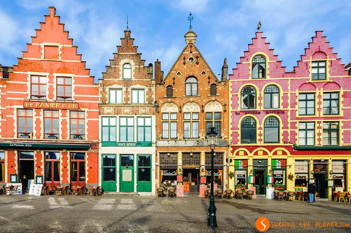 Colorful brick houses, Market Square, Bruges, Belgium