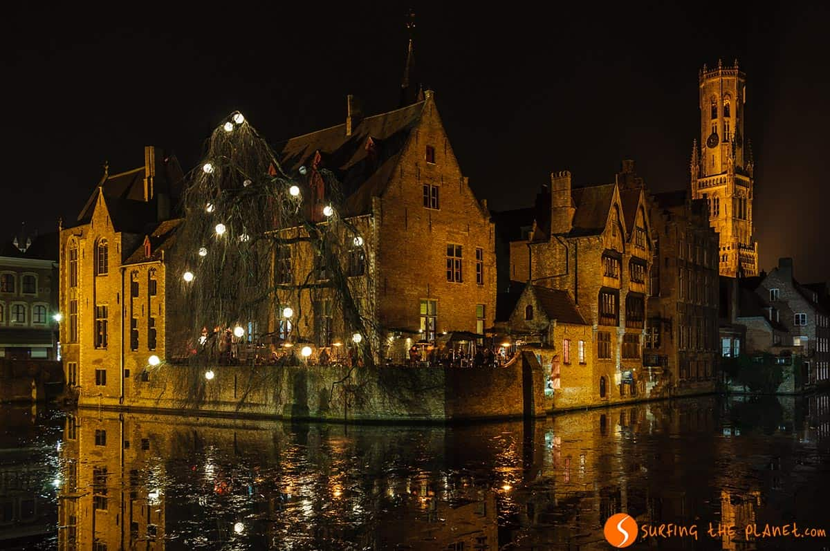 Rosary Quay at night, Bruges, Belgium
