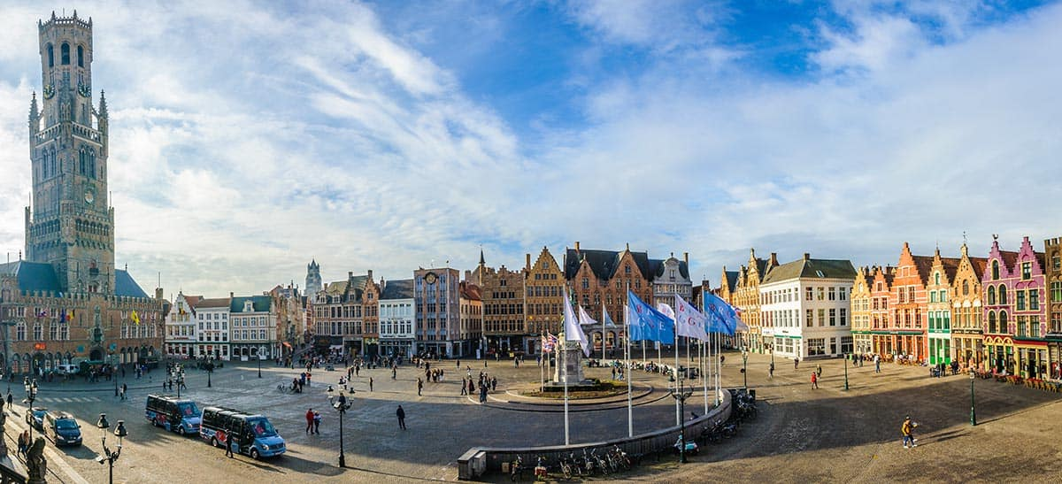 Panoramic view of Market Square, Bruges, Belgium