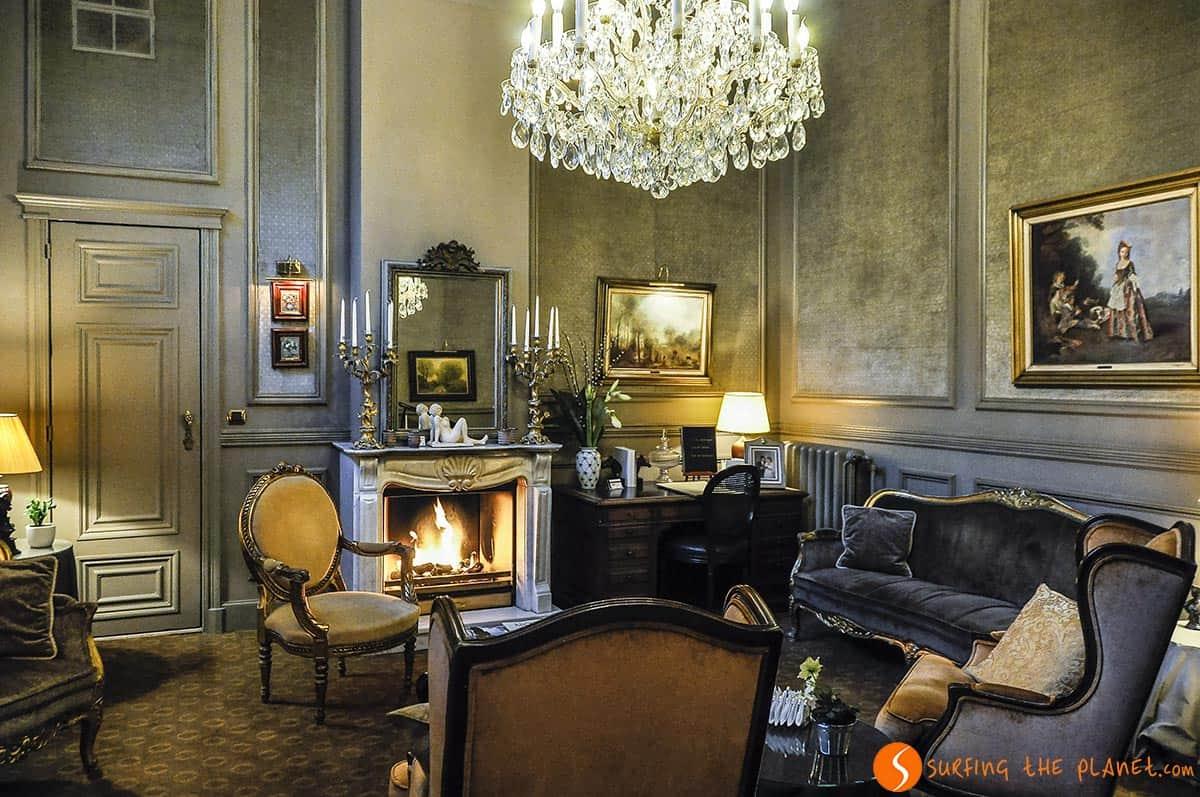 living room, hotel Heritage, Bruges
