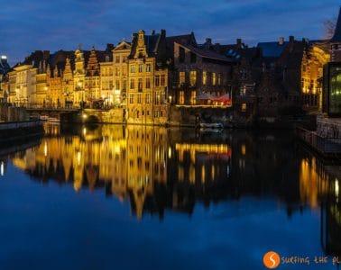 Reflejos al atardecer, Gante, Belgica