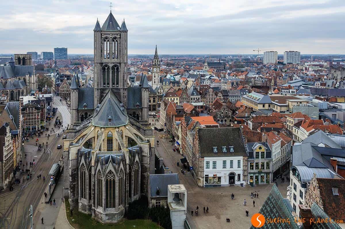 Vista panoramica dalla torre Belfort, Gent , Belgio