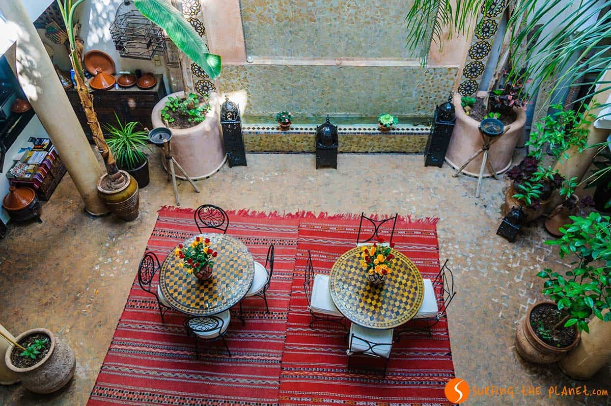 Where to stay in Marrakesh, The courtyard from above, Riad Mur Akush, Marrakesh