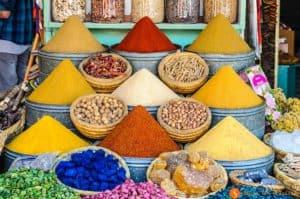 Especias en el zoco, Marrakech, Marruecos