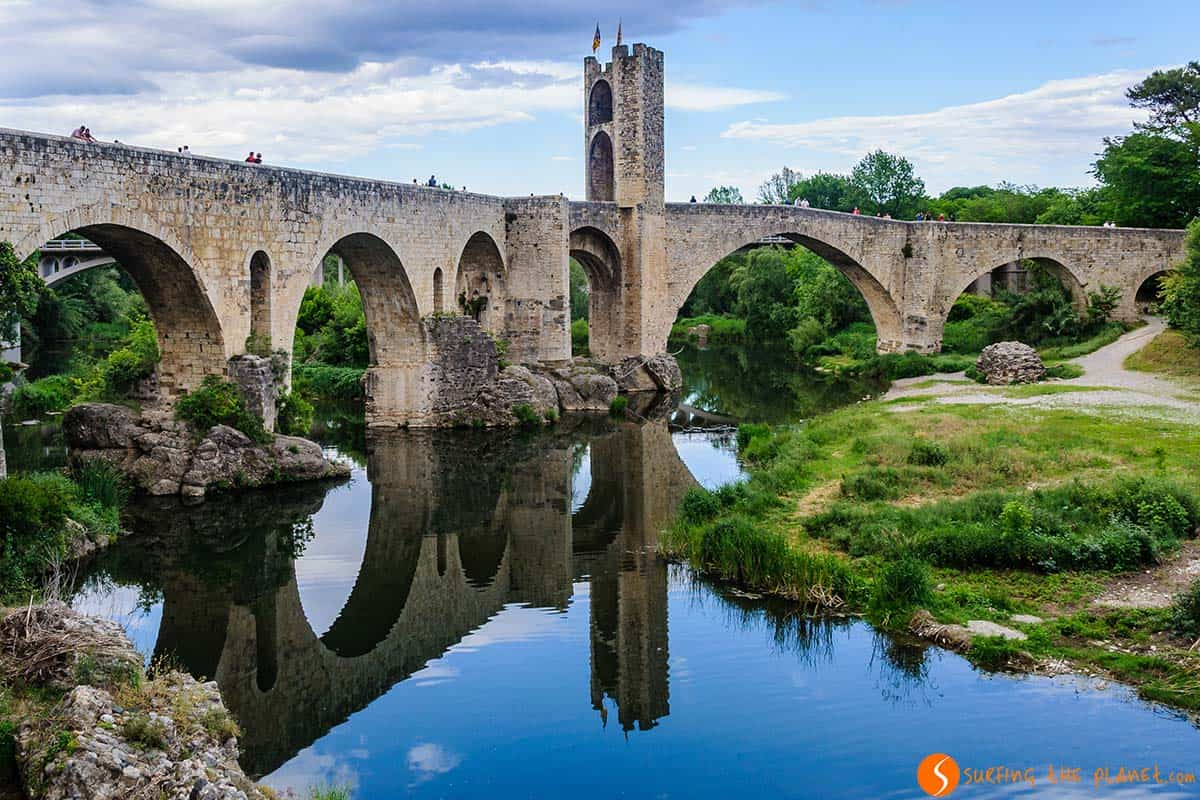 Reflection of the medieval bridge, Besalú, Catalonia