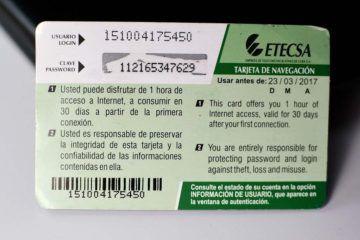 Tarjeta de ETECSA en Cuba