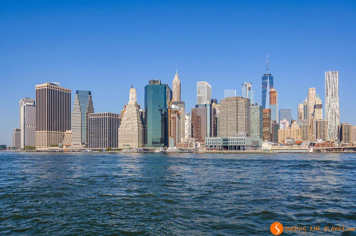 View of Lower Manhattan from Brooklyn Bridge Park, New York