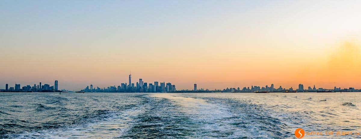 Views of skyline from Staten Island Ferry, New York