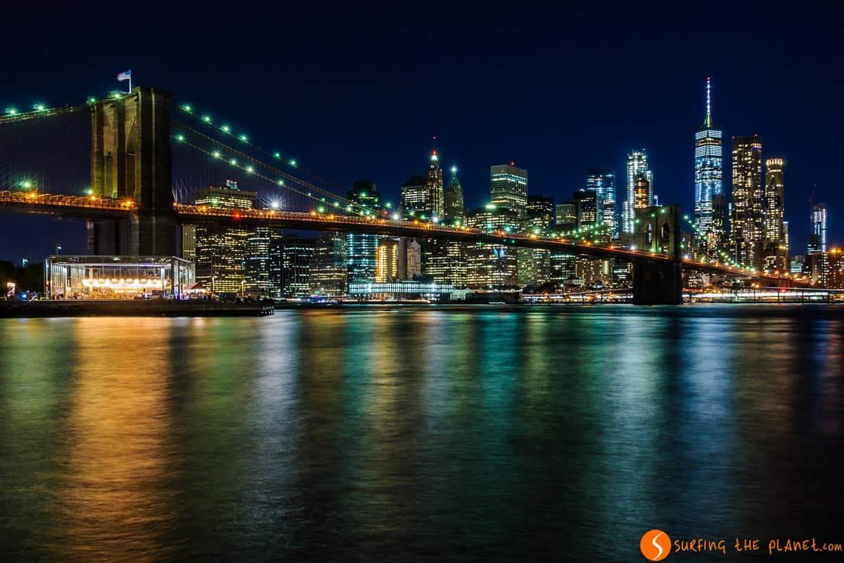 Night view of Manhattan from DUMBO, New York