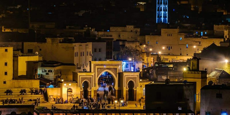 Vista nocturna, Fez, Marrakech