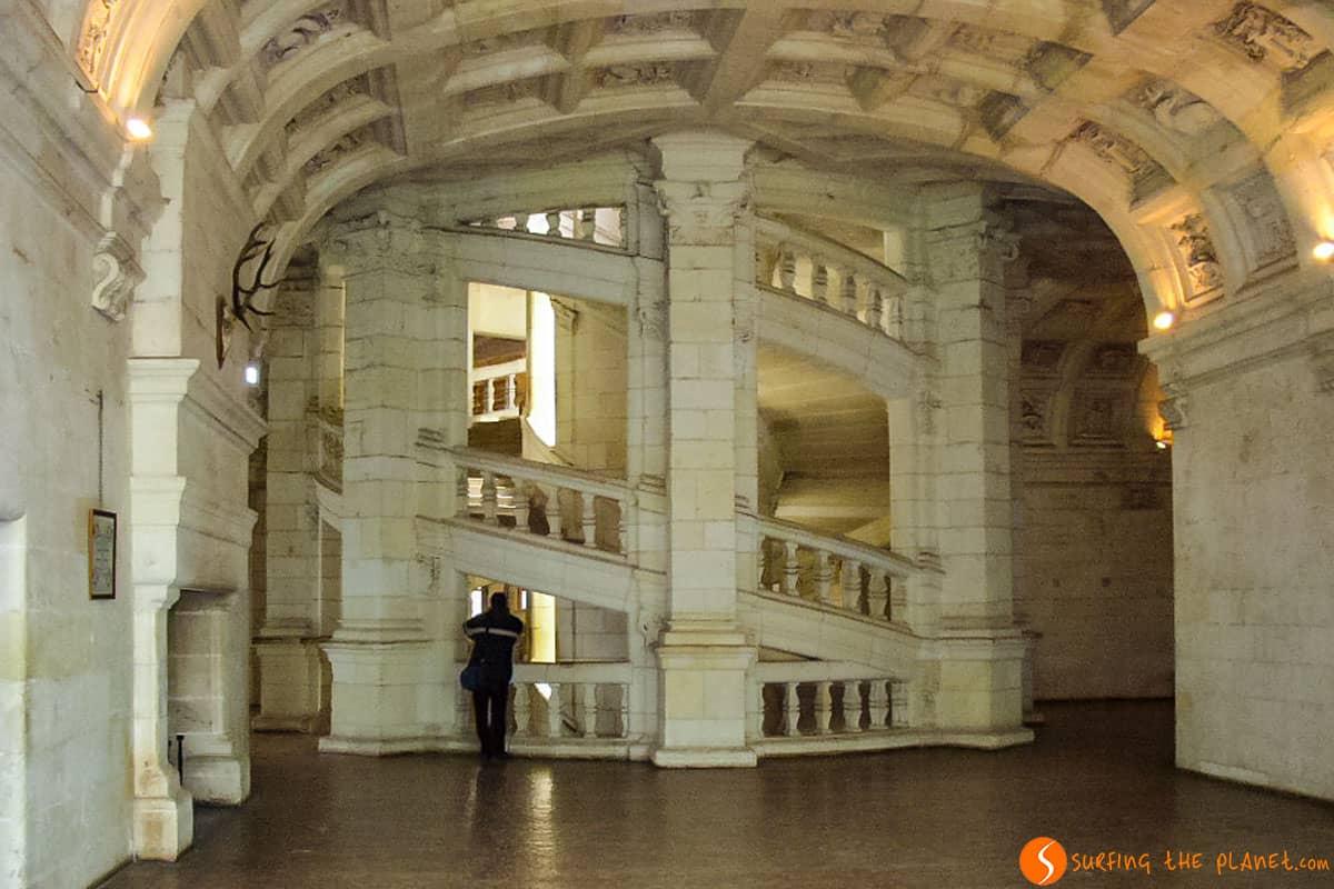 Escalera de doble hélice, Castillo de Chambord, Valle del Loira
