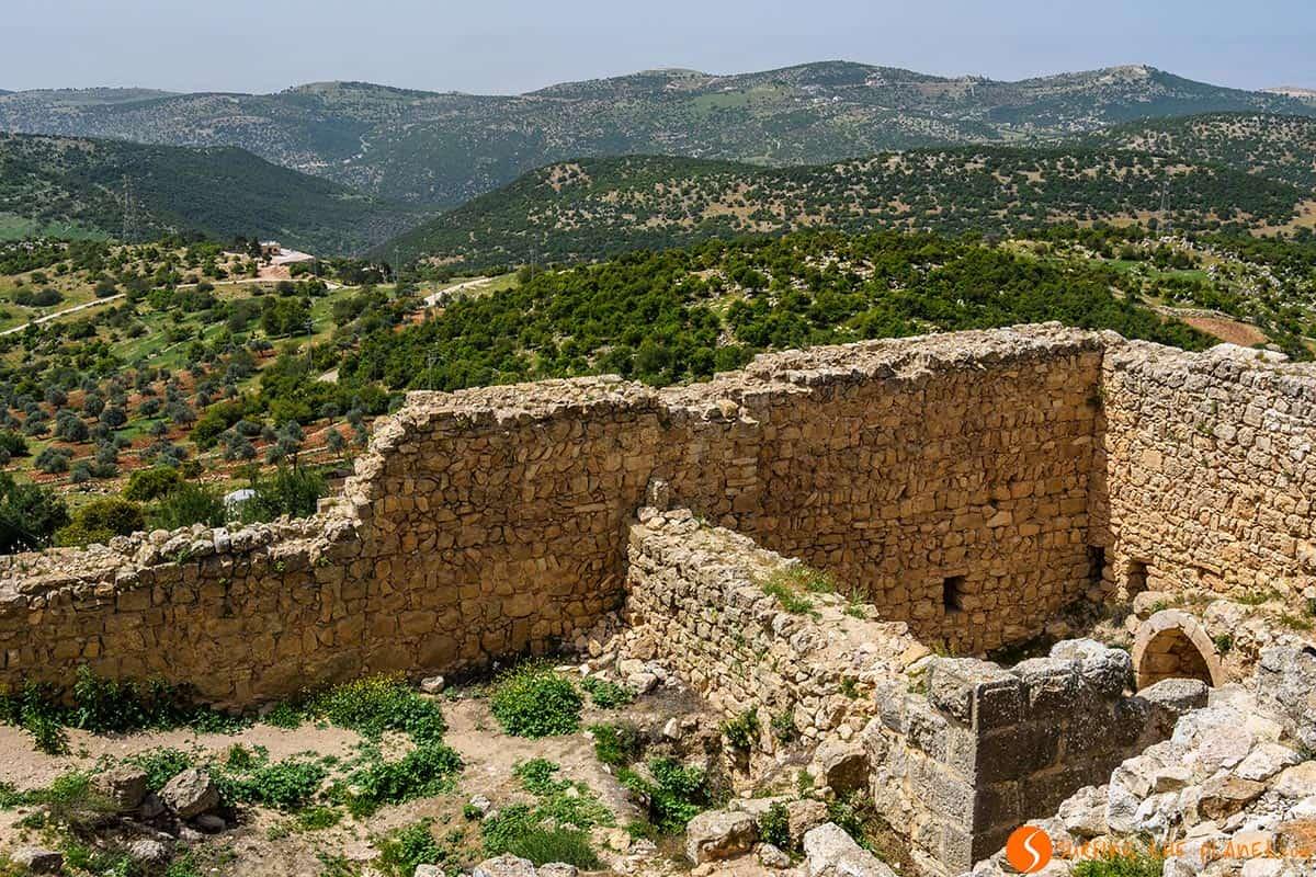 Vistas desde el Castillo de Ajloun, Jordania