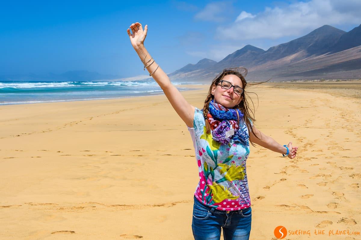 Rachele en Playa de Cofete, Fuerteventura