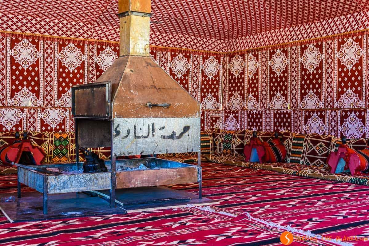 Salón en el campamento, Desierto de Wadi Rum, Jordania