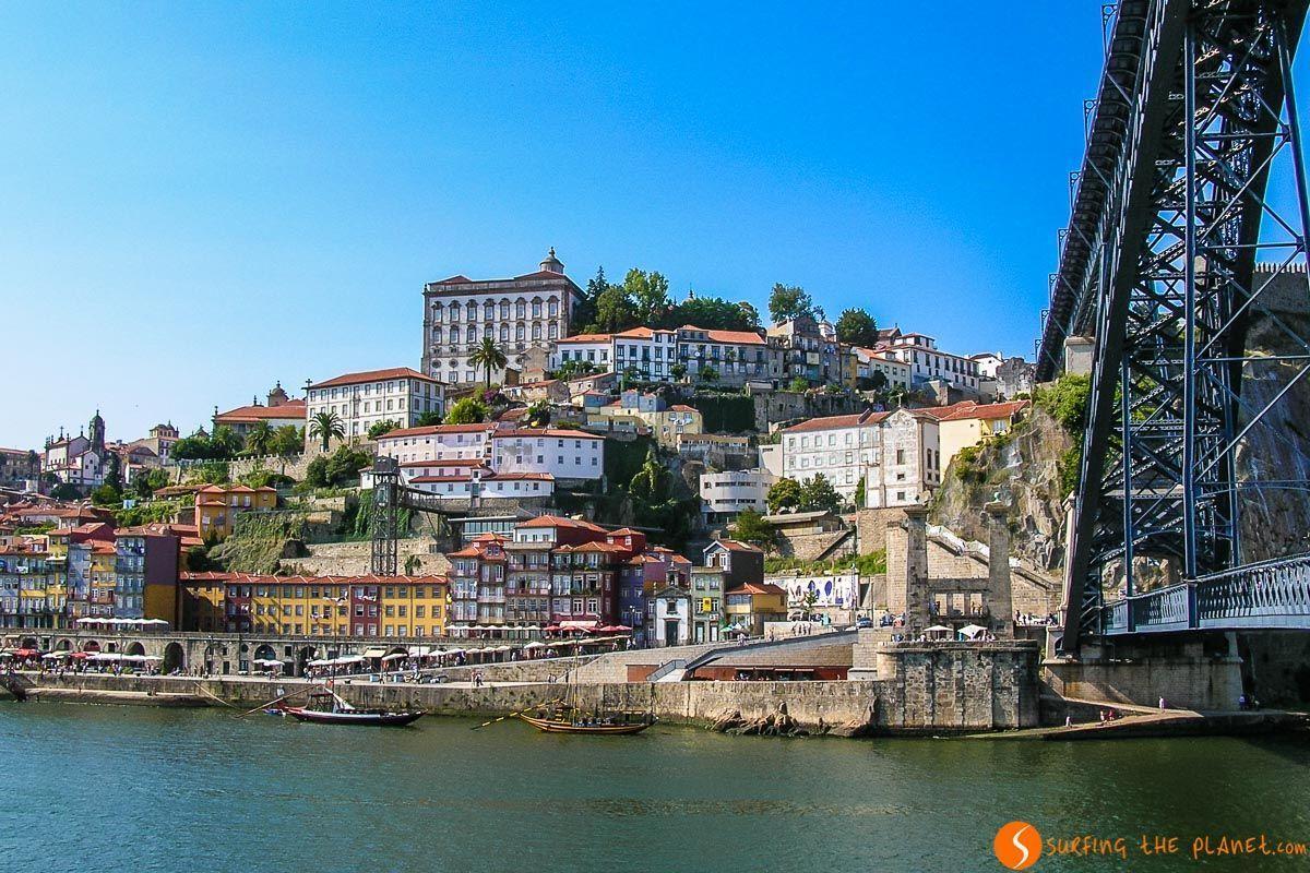Vista Ribeira y Puente, Oporto, Portugal