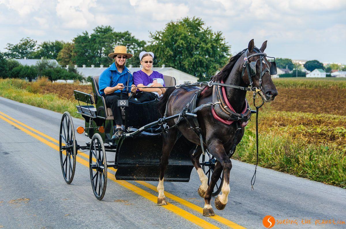 Familia en carro, Comunidad Amish de Lancaster, Pennsylvania, Estados Unidos |Excursión de visita al Condado de los Amish