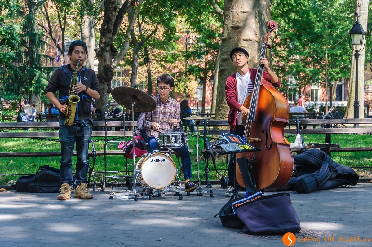 Músicos, Washington Square Park, The Village, Nueva York, Estados Unidos | Parques de Nueva York
