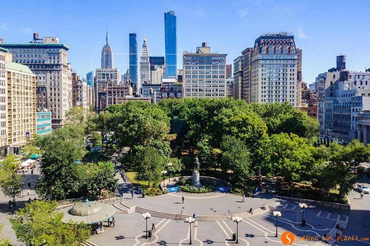 Vista de Union Square, Midtown, Nueva York, Estados Unidos