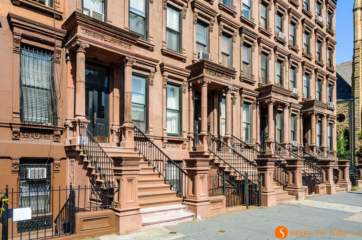 Casas Brownstones, Harlem, Manhattan, Nueva York, Estados Unidos