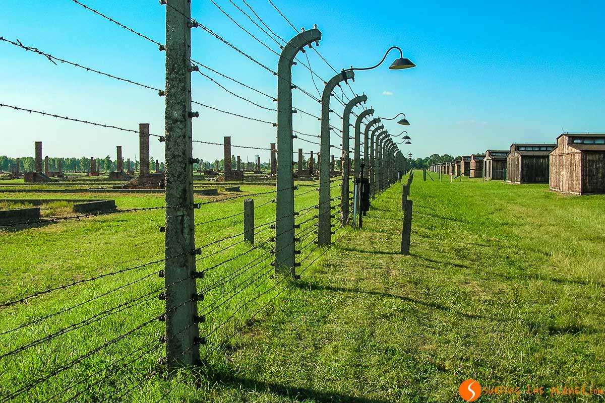Exterior del campo de concentración Auschwitz-Birkenau cerca de Cracovia, Polonia