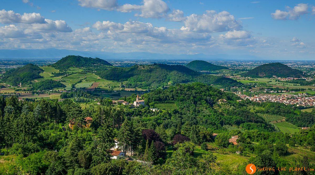 Paisaje verde, Colli Euganei, Véneto, Italia