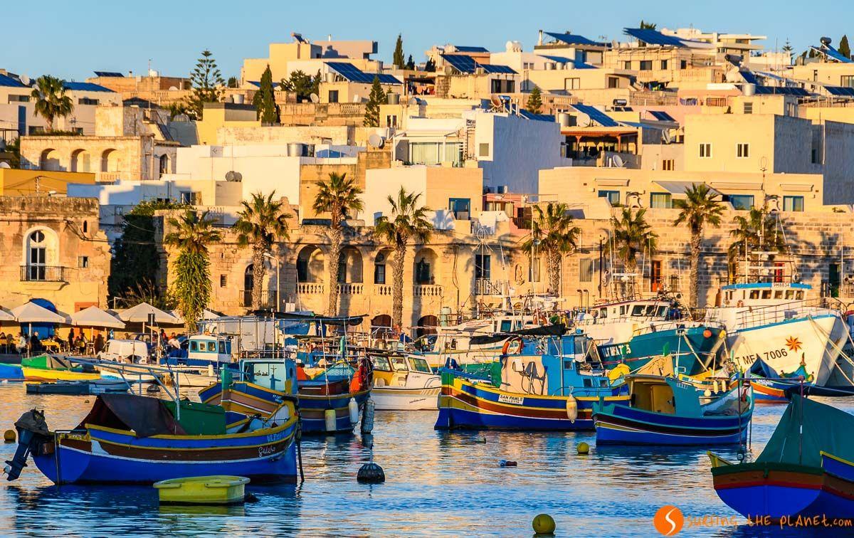 Barcos al atardecer, Marsaxlokk, Malta   Qué visitar en Malta en 3 días