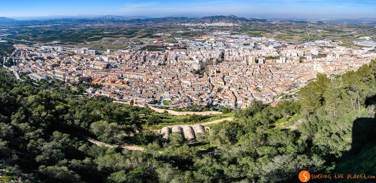Vistas panorámicas desde el Castillo de Xàtiva, Provincia de Valencia, Comunidad Valenciana